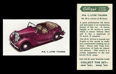 Kellogg - Motor Cars (coloured) - Card #20 - M.g. 1 1/4 Litre Tourer - 1949 • 1.75£
