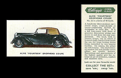 Kellogg - Motor Cars (coloured) - Card #22 - Alvis  Fourteen  Drophead - 1949 • 1.75£