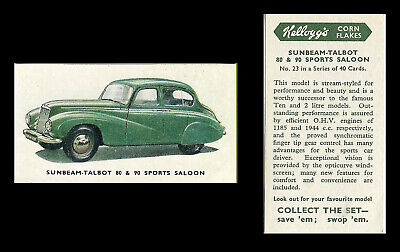 Kellogg - Motor Cars (coloured) - Card #23 - Sunbeam Talbot Sports - 1949 • 1.75£