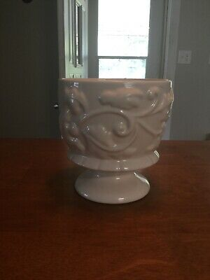 $20 • Buy Haeger Pedestal Pottery Planter Cream Ivory White