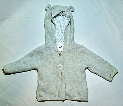 AU8 • Buy Soft Baby Hooded Jacket, Lined With Buttons, Soft Grey, Size 000 / 0-3months