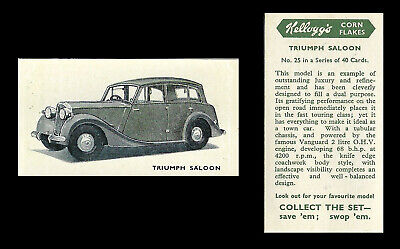 Kellogg - Motor Cars (coloured) - Card #25 - Triumph Saloon - 1949 • 1.75£