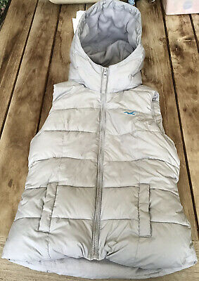 AU45 • Buy Hollister Grey Womens Quilted Puffer Hoodie Vest Fleecy Lined Jacket Coat S 8-10