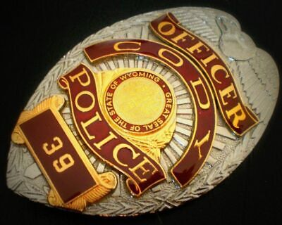 Obsolate Historical Usa Police Badge.... Officer Cody No. 39 / Seal Of WYOMING  • 18.99£
