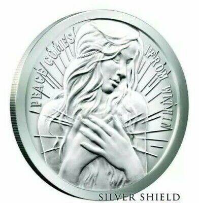 $ CDN977.77 • Buy 5 Oz .999 Pure Silver Shield Proof Peace Comes From Within Round Coin Wastweet