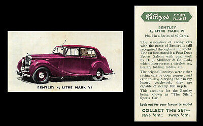 Kellogg - Motor Cars (coloured) - Card #29 - 3 1/2 Litre Jaguar Mark V - 1949 • 1.60£
