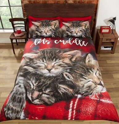 Cuddle Kittens Duvet Cover Set Photographic Sleeping Cats Tartan Red King Size • 38.95£