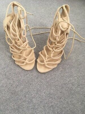 Beautiful MISSGUIDED PLATFORM SHOES Beige Faux Suede Strappy Sandals  Size 4 • 5£