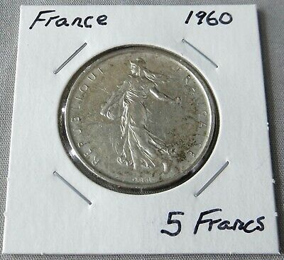 $ CDN5.36 • Buy 2 French Silver Coins: 1960 And 1962 5 Francs