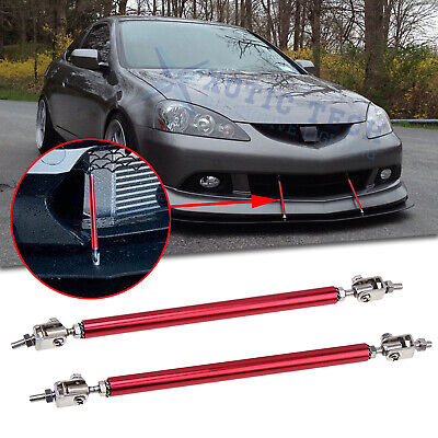 $13.03 • Buy 2Pcs Red Front Adjustable Bumper Lip Splitter Rod Support Tie Bar For Acura TSX