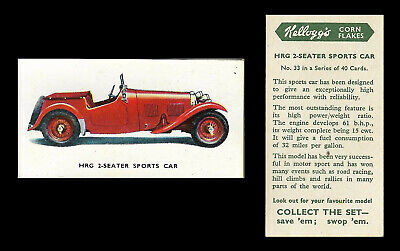 Kellogg - Motor Cars (coloured) - Card #33 - Hrg 2 Seater Sports Car  - 1949 • 1.75£