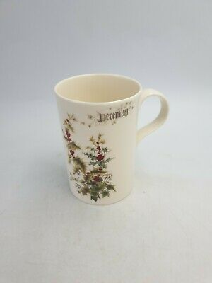 Past Times Flowers Of The Month  December  Holly & Ivy Fine Bone China Mug Bxd • 12.99£