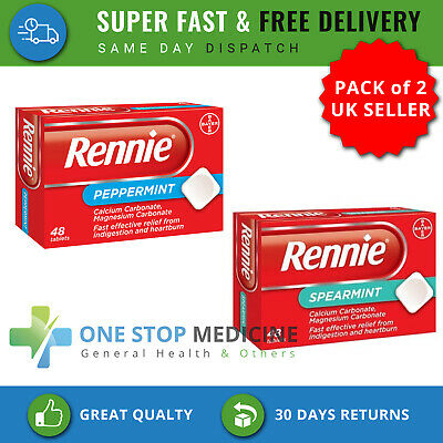 2x Rennie Spearmint & Peppermint  48 Tablets For Indigestion & Heartburn Relief • 7.29£