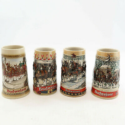 $ CDN39.55 • Buy Budweiser Lot 4 Steins Holiday Clydesdales Anheuser-Busch Ceremonte B C Series