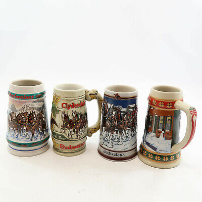 $ CDN39.55 • Buy Budweiser Lot 4 Steins Holiday Clydesdales Anheuser-Busch Ceremonte 1989 1993