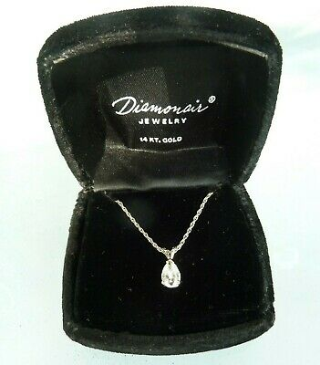$49.99 • Buy 14k White Gold Chain & CZ Pendant Necklace 17.5  Long In Box