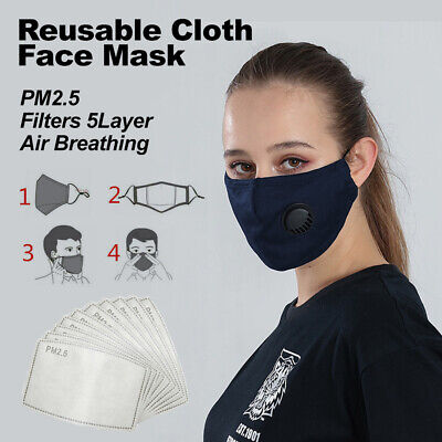 AU9.99 • Buy Cotton Face Mask Reusable Cloth PM2.5 Filters 5Layer Guard With Air Breathing