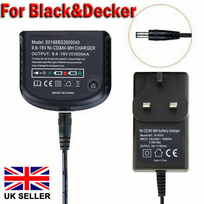 For Black +Decker 18V A1712 A1718 A12 A18 FSB18 Ni-MH Ni-CD Battery Charger UK • 11.23£