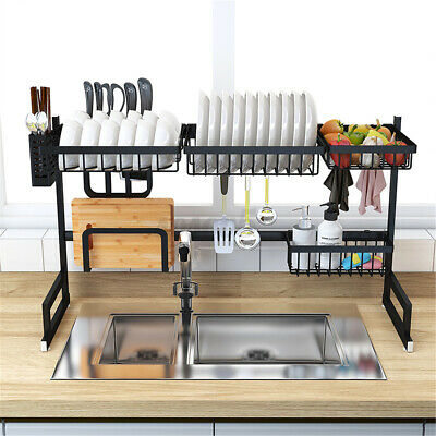 AU87.99 • Buy AU 2-Tier 91CM Kitchen Dish Rack Shelf Organizer Drying Over Sink Utensil Holder