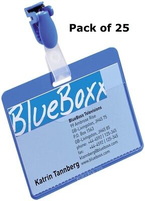 25 X Conference Visitor Name Badges Clip Pass Holder Photo Security Safety 60x90 • 17.99£