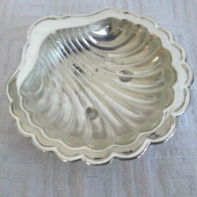 Vintage Silver Plate Pretty Shell Shape Butter Dish With Glass Liner • 7.99£