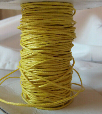 5 METERS 1mm YELLOW WAXED COTTON RATTAIL CORD FOR JEWELLERY MAKING  • 1£