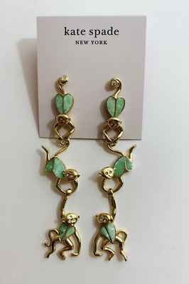 $ CDN59.93 • Buy Kate Spade Gold-Tone Animal Party Monkey Linear Earrings Green