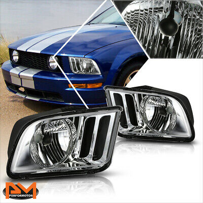 $69.89 • Buy For 05-09 Ford Mustang Chrome Housing Headlight Clear Corner Signal Lamps Pair