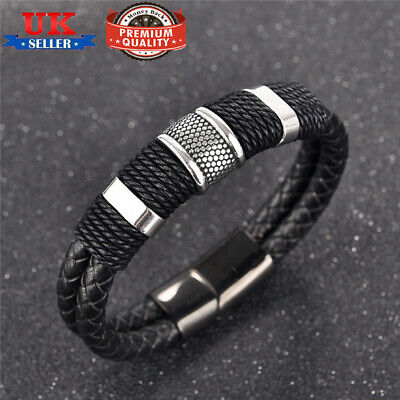 Mens Genuine Flat Leather Braided Wristband Wrap Bracelet Magnetic Steel Clasp • 4.99£