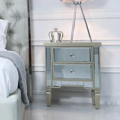 Champagne Mirrored Bedside Table Chest Venetian Bedroom Furniture Glass Cabinet  • 129.95£