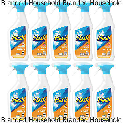10 X FLASH FAIRY KITCHEN SPRAY GREASE CLEANER CITRUS SCENT DEGREASING 450ML • 14.99£