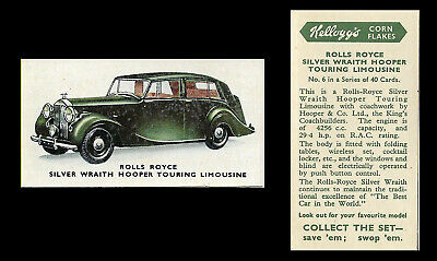 Kellogg - Motor Cars (coloured) - Card #6 - Rolls Royce Silver Wraith - 1949 • 1.75£
