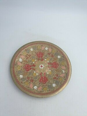 Vtg Indian Asian Solid Brass Enamelled Plate Dish Red Pink Floral Wall Plaque • 18.99£