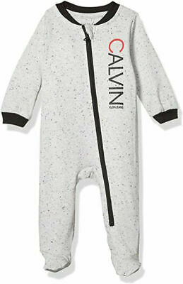 $15.29 • Buy Calvin Klein Infant Boys Marled Gray Printed Coverall Size 0/3M 3/6M 6/9M
