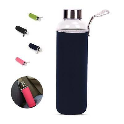GLASS Drinking Water Bottle 550ml Insulate Silicone Sleeve Easy To Carry • 4.69£
