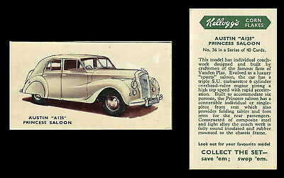Kellogg - Motor Cars (coloured) - Card #36 - Austin  A135  Princess  - 1949 • 1.75£