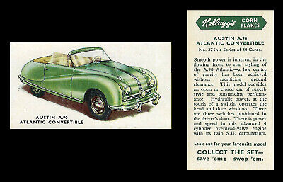 Kellogg - Motor Cars (coloured) - Card #37 - Austin  A90  Atlantic  - 1949 • 1.75£