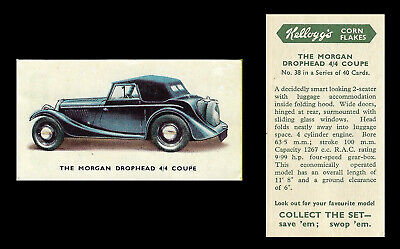 Kellogg - Motor Cars (coloured) - Card #38 - Morgan Drophead 4/4 Coupe  - 1949 • 1.75£