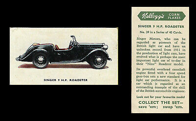 Kellogg - Motor Cars (coloured) - Card #39 - Singer 9 H.p. Roadster - 1949 • 1.55£