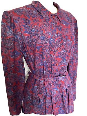 Origin, Viyella Fabric Tea Dress,1980s Floral Puff Sleeve Midi Liberty Vintage14 • 45£