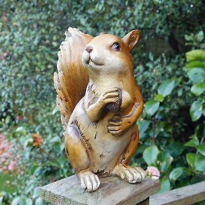 £12.99 • Buy Wooden Red Squirrel Garden Ornament Resin Fence Wall Hanging Animal Sculpture