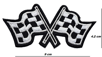 £2.49 • Buy Checkered Flag Formula 1 Sports Car Patch Embroidered Iron Or Sew On Badge Logo