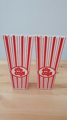 2 Hard Plastic Tall Popcorn Container Cup 9cm X 5.5cm • 5£