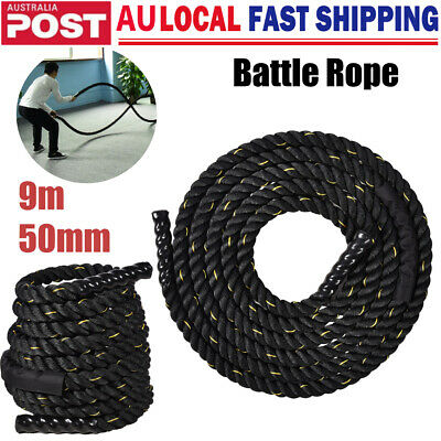 AU94.80 • Buy 50mm 9m Battle Rope Strength Training Battling Power Gym Home Fitness Exercise