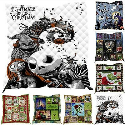 Nightmare Before Christmas Cotton Blanket Xmas Grinch Summer Quilt Washable Rug • 7.69£