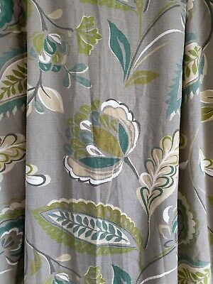 Single Next Lined Grey Green Teal Leaf 100% Cotton Lined Door Curtain 53  X 90  • 16.99£