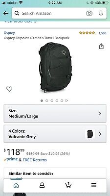 $110 • Buy Osprey Packs Farpoint 40 Travel Backpack, Size M/L - Volcanic Grey