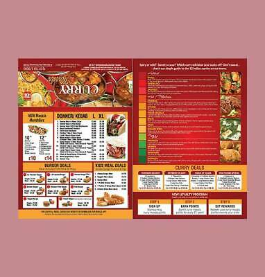 Takeaway / Restaurant Menu Printed With Design, Folded, A3 / A4 |  Menu Printing • 149£