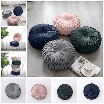 Velvet Round Pleated Pumpkin Sofa Couch Cushion Pillow Pad Room Home Decor UK • 13.69£