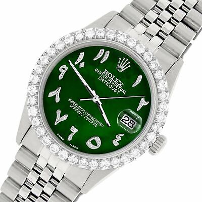 $ CDN9071.21 • Buy Rolex Datejust 36MM Steel Watch W/ 3.35CT Diamond Bezel/Green MOP Arabic Dial